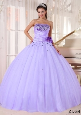 Lovely Lavender Puffy Strapless Beading and Ruching Quinceanera Dresses for 2014