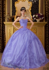 Lovely Lavender Puffy Sweetheart Lace Appliques Quinceanera Dresses for 2014