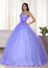 2014 Lavender Gown Sweetheart Beading Quinceanera Dresses with Hand Made Flower