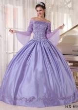 Exquisite Lavender Off The Shoulder 2014 Lace Appliques Quinceanera Dresses