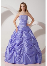 Exquisite Lavender Princess Strapless Appliques Quinceanera Dresses for 2014