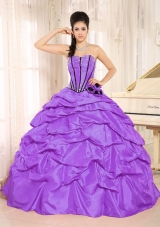2014 Spring Puffy Strapless Beading Quinceanera Dresses With Pick-ups