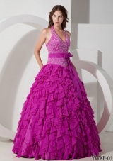 Ball Gown Halter Floor-length Chiffon Embroidery Quinceanera Dress
