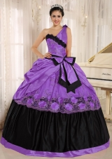 Classical One Shoulder 2014 Quinceanera Dresses With Bowknot and Appliques