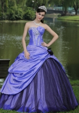 Custom Made Puffy Strapless 2014 Lavender Quinceanera Dresses