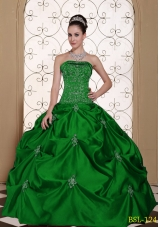 Embroidery Strapless Modest Quinceanera Dresses with Pick-ups