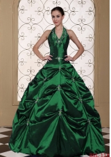 Halter Top Ball Gown Quinceanera Dresses Embroidery With Beading