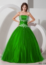 Puffy Strapless 2014 Quinceanera Dresses with Appliques Beading