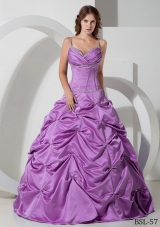A-line Spaghetti Straps Beading Dresses For Quinceaneras with Pick-ups