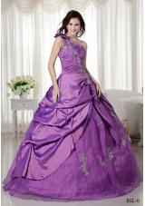 Ball Gown One Shoulder Appliques Quinceanera Dress with Pick-up and Appliques