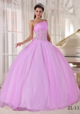 Ball Gown One Shoulder Beading Quinceanera Dress