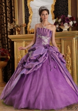 Ball Gown Strapless Appliques Taffeta Quinceanera Dress