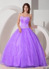 Beautiful Sweetheart Organza Quinceanera Gowns with Appliques and Beading