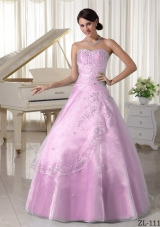 Organza Appliques With Beading Over Skirt Sweetheart Quinceanera Gowns