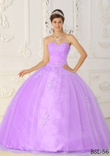 Purple Ball Gown Sweetheart Appliques Quinceanera Dress