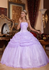 Ball Gown Strapless Organza Quinceanera Gowns with Pick-ups