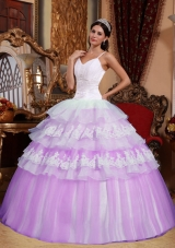 Puffy Spaghetti Straps Organza Appliques and Layers Sweet 15 Dresses