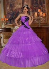 Purple Ball Gown Strapless Appliques Quinceneara Dresses with Ruffled Layers