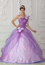 Rose Pink Ball Gown One Shoulder Floor-length Organza Beading and Hand Flower Quinceanera Dress