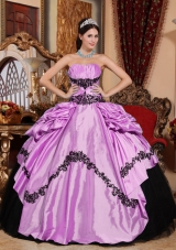 Strapless Appliques and Pick-ups for Lilac and Black Quinceanera Gowns Dress