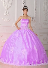 Strapless Appliques Quinceanera Dress with Ball Gown