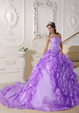 Strapless Chapel Train Beading Quinceanera Dress with Pick-ups and Beading