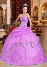 Sweetheart Organza Lilac Sweet Sixteen Dresses with Beading