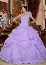 Ball Gown One Shoulder Organza Appliques for Lilac Quinceanera Dress