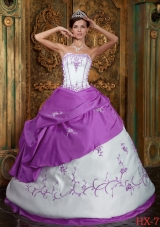 Ball Gown Strapless Embroidery Satin Dresses Quinceanera with Floor-length