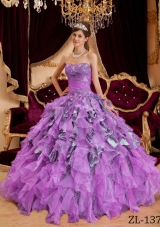Ball Gown Sweetheart Beading and Ruffles Leopard Dresses For a Quince