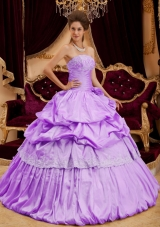 Beautiful Ball Gown Strapless Taffeta Appliques Quinceanera Dress with Pick-ups