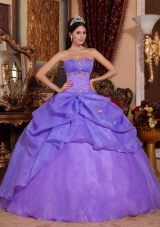 Discount Strapless Organza Quinceanera Gown Dresses with Appliques