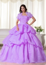 Lilac Strapless Organza Appliques and Hand Made Flowers Dresses For 15