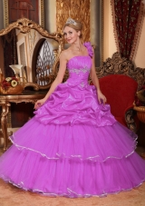 One Shoulder Organza Quinceanera Dress with Beading and Pick-ups