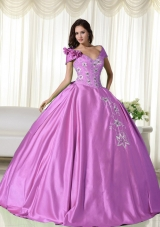 One Shoulder Taffeta Embroidery Decorate Quinceanera Dress for 2014