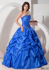 2014 Beautiful Blue Puffy Strapless Appliques Quinceanera Dress with Pick-ups