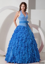 2014 Blue Puffy Halter Ruffles Quinceanera Dress with Bow