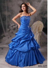 2014 Popular Princess Strapless Beading Quinceanera Dress with Pick-ups
