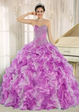 Beaded Decorate Bodice and Ruffles Sweetheart Quinceanera Dress