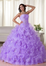 Luxurious Strapless Organza Quinceanera Dress with Appliques and Ruffles