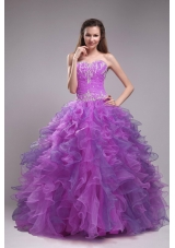 New Sweetheart Orangza Ruffles Quinceanera Dress with Appliques
