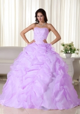 Strapless Lilac Organza Beading and Ruffles Dress For Quinceanera