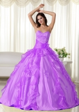 Sweetheart Taffeta Appliques Decorate Long Dress For Quinceaneras
