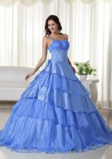 Discount Blue Puffy One Shoulder for 2014 Beading Quinceanera Dress with Ruffled Layers