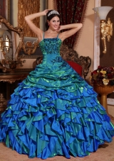 2014 Affordable Colourful Puffy Straps Embroidery Quinceanera Dress with Beading