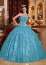 2014 Aqua Blue Puffy Sweetheart Beading Quinceanera Dress