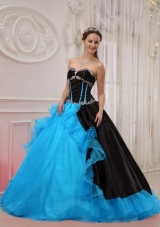 2014 Beautiful Puffy Sweetheart Appliques Quinceanera Dress with Hand Made Flowers