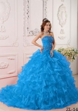 2014 Beautiful Quinceanera Dress in Teal with Ruffles And Embroidery