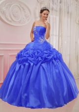 2014 Blue Puffy Strapless Ruching and Beading Quinceanera Dress with Pick-ups
