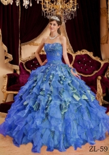 2014 Blue Puffy Sweetheart Beading Leopard and Organza Quinceanera Dress with Ruffles
